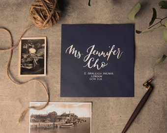 Envelope addressing with modern brush calligraphy