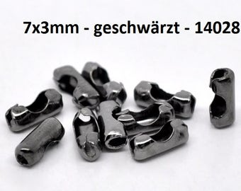 Closures for ball chains, ball chains launched, bronze, silver plated, blackened, 7x3mm
