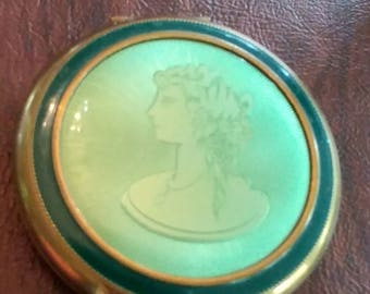 Vintage Green Enamel and Guilloche Powder Compact With Cameo-Type Profile Image