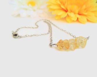 Citrine necklace, raw crystal jewelry, Solar plexus chakra healing crystals and stones, yellow citrine bar necklace, yellow crystal gemstone
