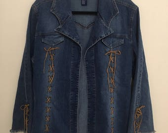 90's Vintage 'L.A. Blues' Denim Jacket with Fringe and Lace-up Sleeves