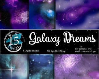 "Galaxy Digital Paper-""Galaxy Dreams"" nebula digital paper, night skies digital paper, DigiScrap, galaxy scrapbooking, Free Commercial Use"
