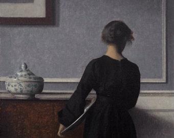 Hammershøi's Interiør med ung kvinde set fra ryggen | Giclée Fine Art Archival Pigment Print; Art Poster, Reproduction Print