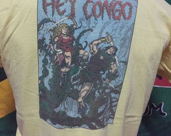 RARE!!! Vintage Hey Congo Shirt by Stedman Spell Out Light Yellow Colour/Large Size/Made in usa