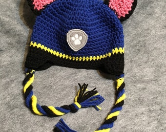Crochet Paw Patrol Chass Hat, Halloween Costume, Boy Hat, Girl Hat, Animal Hat, Photo Prop