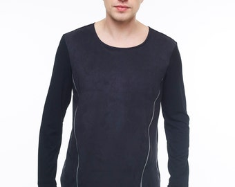 Black mens sweater black mens pullover with zippers men's sweatshirt viscose sweater with zippers casual men's pullover viscose pullover