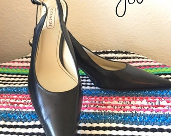 FREE SHIPPING I Vintage Coach Black Shoes 8 1/2 A Leather, slingback pumps.
