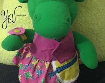 Vintage Baby Bop plush and bag 1993 , Barney the dinosaur's friend I FREE SHIPPING