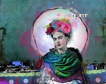 Frida Kahlo art collage Reina De Corazones, Digital Art on canvas, Mixed Media art, Wall Art, Home decor