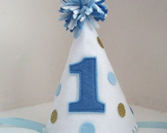 Felt Party Hat with Polka Dots,Birthday Hat,  First Birthday, Photo Prop, Smash Cake, Boy, Girl