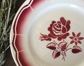 2 floral Badonviller plates, flat vintage plates, antique ceramic, burgundy floral pattern