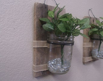 Rustic mason jar wall decor.