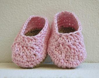 Baby ballet flat in pink linen