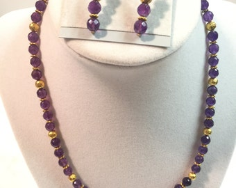 Purple Fire Polished Glass Beaded Necklace