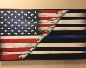 Thin blue line/American Flag