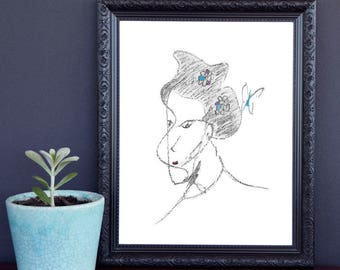 Lady Butterfly Digital Print