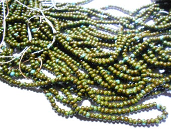 """20"""" STRAND 6/0 TURQUOISE OLIVE picasso Czech glass seed beads!"""