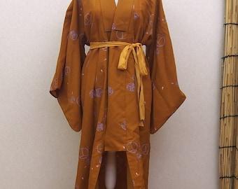Brown kimono / summer wearing robe / antique kimono robe