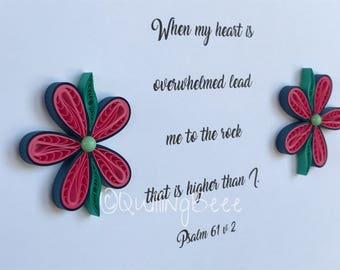Religious Gift, Religious Bible Verse Gift, Bible Verse, Quilled Flower Decorated Bible Verse, Bible Verse Frame,