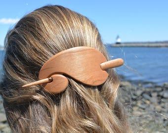 Cherry Wooden Hair Stick, Wooden Barrette