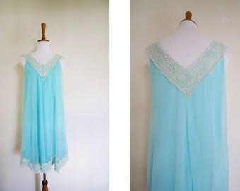 Vintage Teal Blue Lacy V Neck Slip Dress / Nightgown / Lingerie / Vintage Boudoir