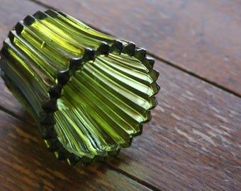 Vintage, Olive Green, Textured Glass, Peg Votive Holder