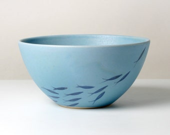 Blue cereal Bowl with fishing gifts for you