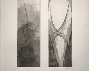 Side by Side, 2015 by Joel Webb (Intaglio etching)