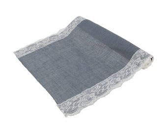 "Gray Burlap With Lace Table Runner 16"" x 88"""