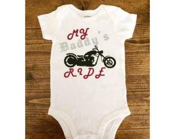 My Daddy's Ride Bodysuit, Motorcycle Bodysuit, Baby Boy Bodysuit, Baby Girl Bodysuit, Harley Davidson Baby