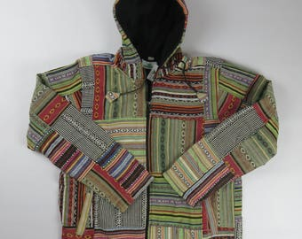 Fleece lined patchwork hooded cotton jacket - made in Nepal xl