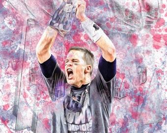 "Tom Brady New England Patriots Super Bowl 51 Championship 13"" W x 19"" H Poster"