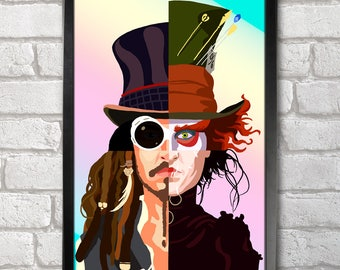 Johnny Depp x4 Poster Print A3+ 13 x 19 in - 33 x 48 cm  Buy 2 get 1 FREE