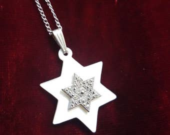 Silver Necklace with Silver Star pendant on plastic star.