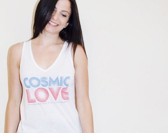 Cosmic Love Flowy V-Neck Tank - SOLD OUT: Small Grey