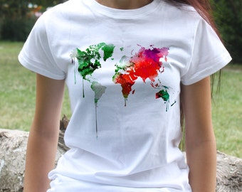 Map of the World T-Shirt - Art Tee - Fashion women's apparel - Colorful printed tee - Gift Idea