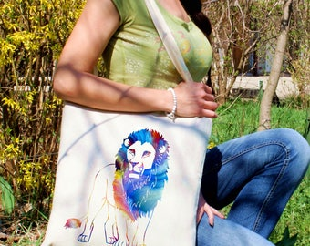 Lion King tote bag -  Lion shoulder bag - Fashion canvas bag - Colorful printed market bag - Gift Idea