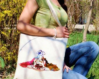 Adorable dog tote bag -  Dog shoulder bag - Fashion canvas bag - Colorful printed market bag - Gift Idea