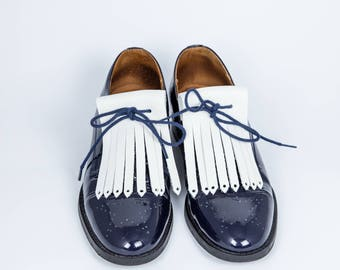 Fringe leather full grain white shoe laces