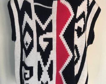80's Boxy Aztec Knit Sweater