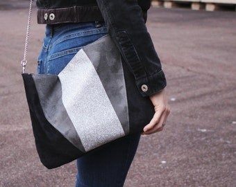 Pocket/bag in suede black, grey and silver glitter