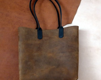 Tote Cartera Cuero Crazy Horse Brass Real Leather Bag
