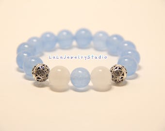 baby blue with white beaded bracelets / 10mm beaded bracelets / elastic bracelets / gift for her / cute