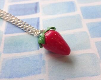 Handmade Polymer Clay Strawberry Necklace