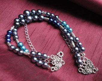 Metallic Bead and Chain Multi Strand Bracelet - B18