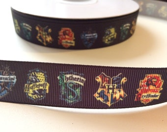 """Harry Potter 1"""" Grosgrain Ribbon - 1 Metre (Black/Houses)"""