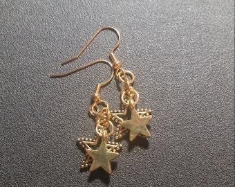 Golden Double Stars Dangle Earrings