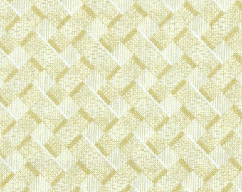 SALE 1-1/2 yards Blond Pale Yellow Basket Weave Overall Pattern Quilting Weight Cotton