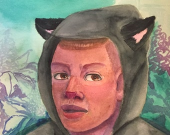 The Catz Meow - Oringinal,medium sized, watercolor portrait painting By Marialynda Valdez on 140lbs cold press paper.