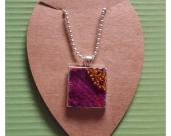 """Hand Embroidered Pink and Purple Harris Tweed Silver Plated Inch Square Pendant with Orange Seed Beads on 20"""" Chain"""